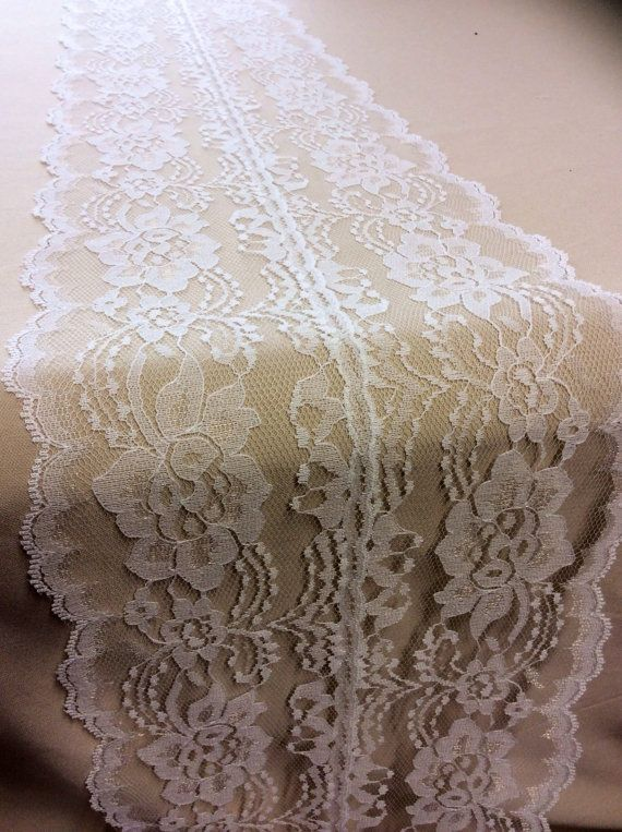 9ft Ivory Lace Table Runner, Wedding Table Runner, 7.5in Wide x 78in Long, Vintage, Rustic Ivory Wedding Decor, Lace Overlay on Etsy, $16.95