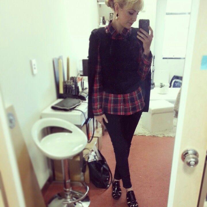My new cape from Bardot, Target tartan top, Dr Denim jeans, Mollini shoes and Lovisa earrings :)