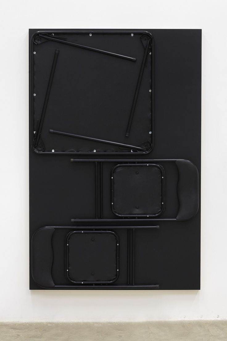 Tom Burr A Conversation, 2013 Card table and two chairs, bolts, black paint on plywood panel 72 x 47.5 x 4.5/ 182.9 x 120.7 x 11.4 cm