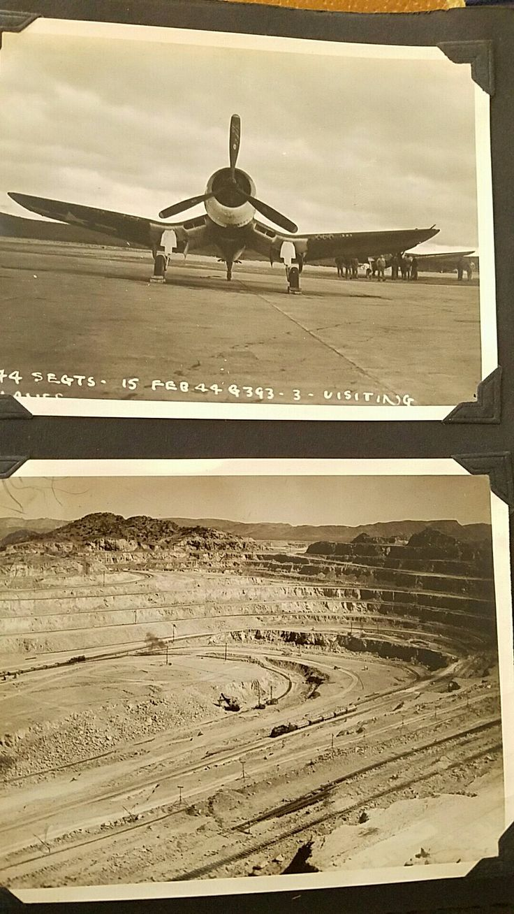 A visiting Corsair and open pit mine in Ajo AZ. 1944