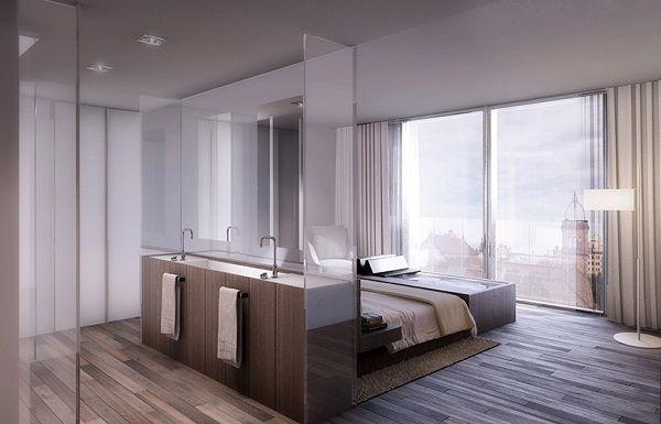 Modern apartment interiors bedroom bathroom open plan | lovely ...