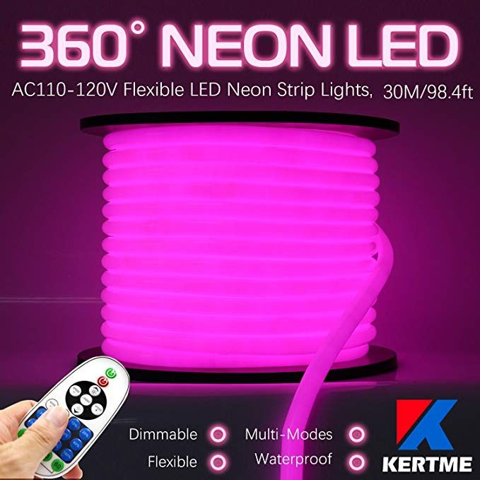 Kertme 360 Neon Led Type Ac 110 120v 360 Degree Neon Led Light Strip Flexible Waterproof Dimmable Multi Modes Led Rop Led Rope Lights Strip Lighting Led Rope