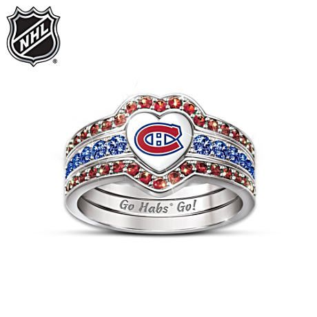 The Bradford Exchange | Montreal Canadiens® Trio Heart Ring For Women