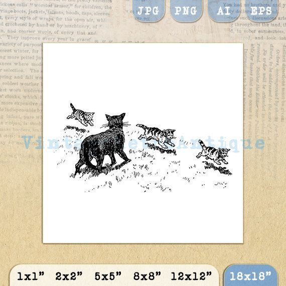 Printable Graphic Cat and Kittens Image by VintageRetroAntique