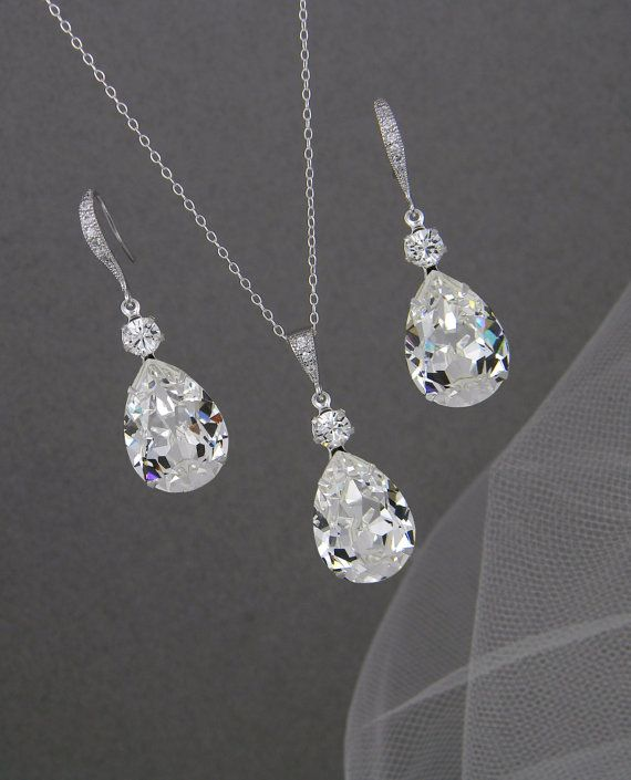 Bridal Jewelry Set Crystal Pendant Earrings by CrystalAvenues