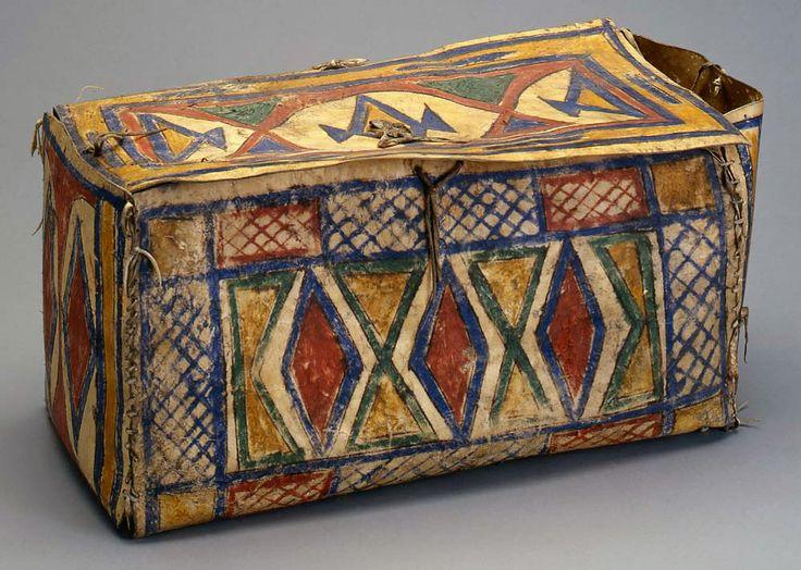 Lakota artwork rawhide box ca 1890 native american for Decor containers coles