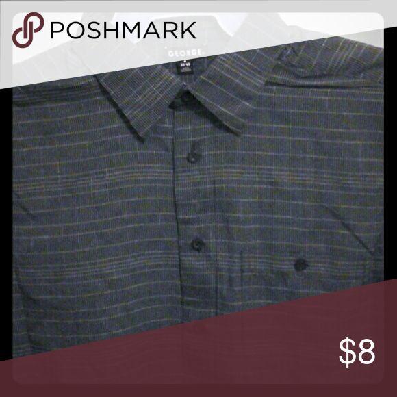 Men's Short Sleeve Shirt  -  GEORGE Nice black plaid men's short sleeved buttoned down shirt. nwt George Shirts Casual Button Down Shirts