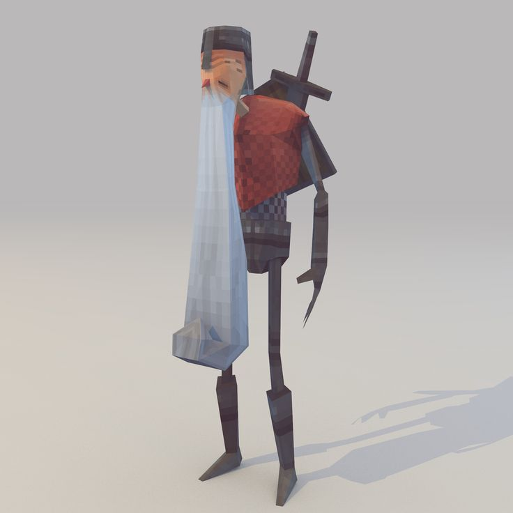 Lowpoly Knight (With weapon) by lithium-sound.deviantart.com on @deviantART