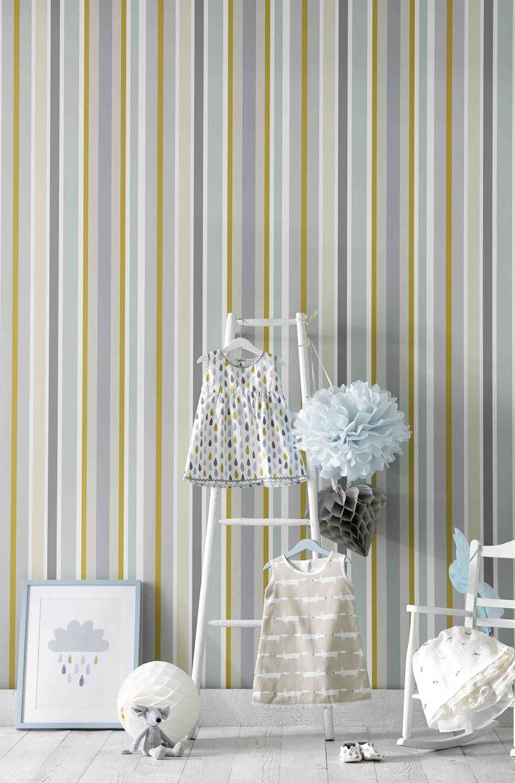 We love our new neutral palette, it is perfect for an on-trend unisex nursery. Our 'Jelly Tot' wallpaper from 'Guess Who' is a deckchair inspired statement stripe!