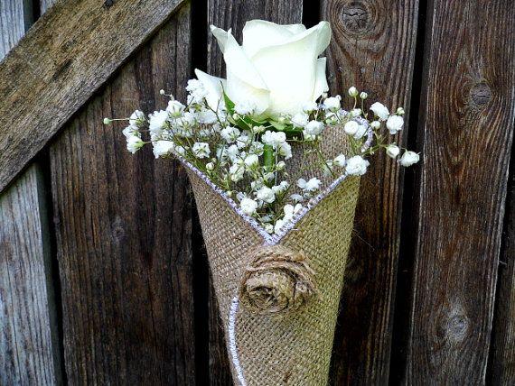 Cono flor de arpillera, decoración del Banco de la iglesia, decoración de la boda rústica, decoración del pasillo, decoraciones florales, granero boda, nupcial ducha Decor