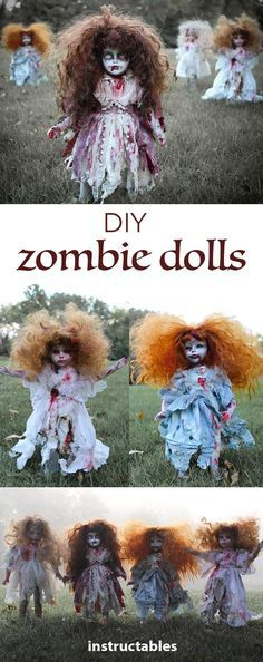 Stage diy zombie dolls in your yard for Halloween!