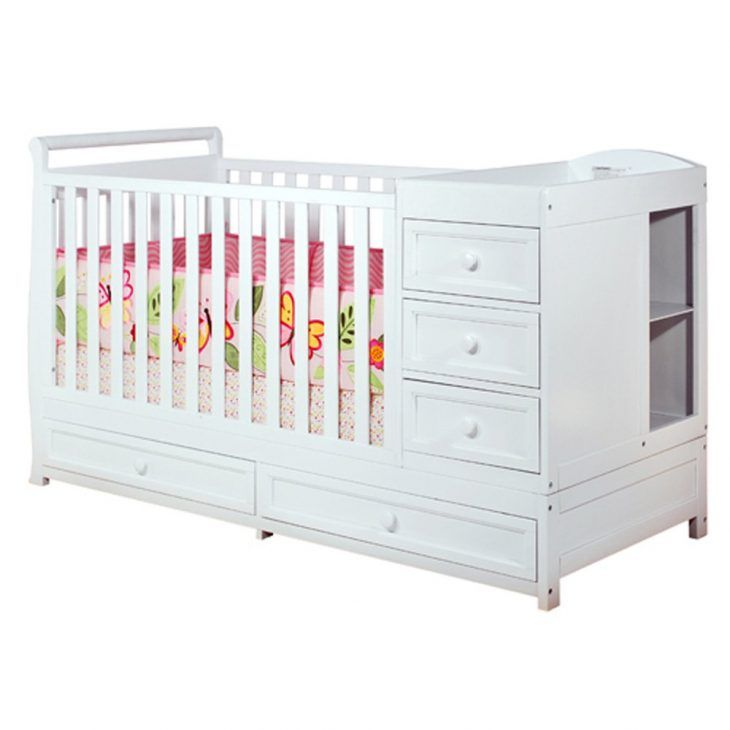 white baby cribs with changing table and storage