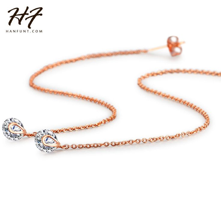 New Fashion Unique Rose and White Gold Plated 2 carat AAA+ Cubic Zircon Crystal Drop Line Long Earrings For Women E549 E100