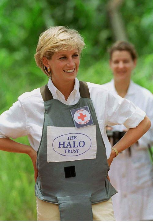 PRINCESS DIANA AND THE LANDMINES Diana worked to de-mine regions of Southern Angola in January 1997. Her personal support is said to have been a significant factor in encouraging Britain and other countries to support the Ottawa Treaty, a bid to introduce a ban on the use of anti-personnel landmines. Her contributions were noted in Robin Cook's speech when he brought the second reading of the landmine bill to the House in 1998.