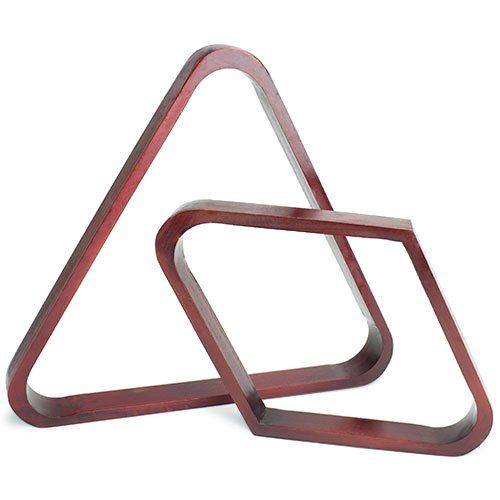 Felson Billiard Supplies Mahogany Stain Triangle and Diamond Billiard Ball Racks - Start an intense game of pool with these Triangle and Diamond Billiard Ball Racks from Felson Billiard Supplies! Made of premium-quality solid wood, these racks are sturdy and durable. They are extremely resilient and require little maintenance, unlike plastic racks, which are prone to bending an...