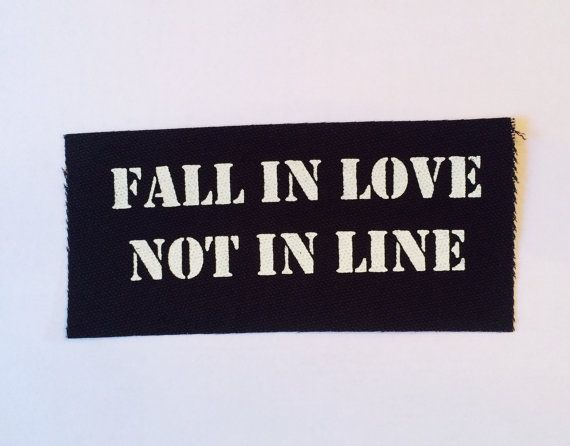 Fall In Love Not In Line Black Fabric Punk by InfiniteDreamsDesign