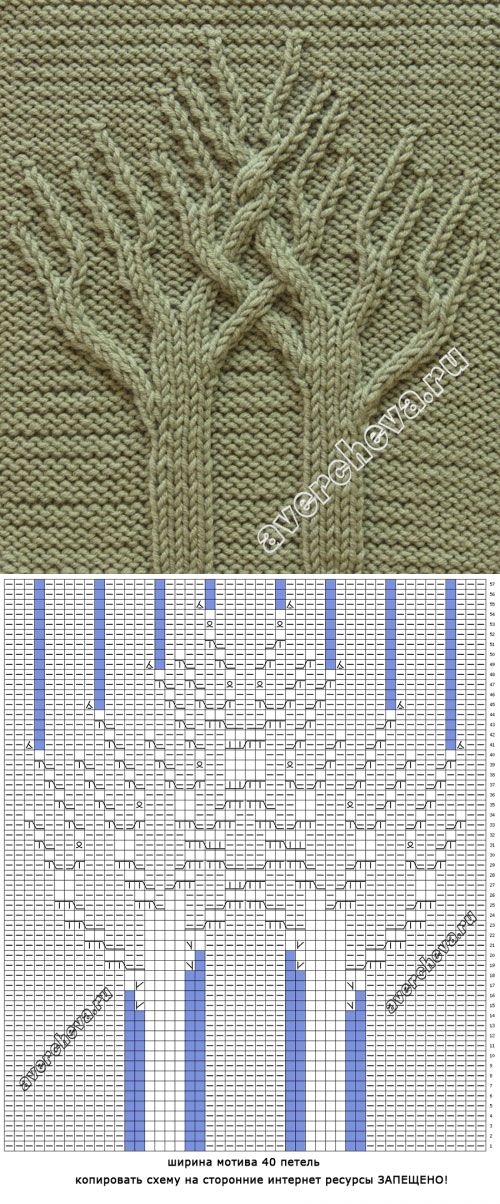 узор 520 « Древо Жизни» | каталог вязаных спицами узоров
