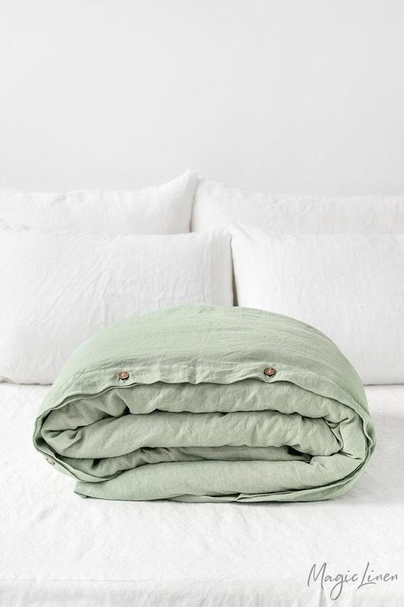 Linen Duvet Cover In Sage Green King Queen Twin Custom Sizes Linen Duvet Covers Linen Duvet Washed Linen Duvet Cover