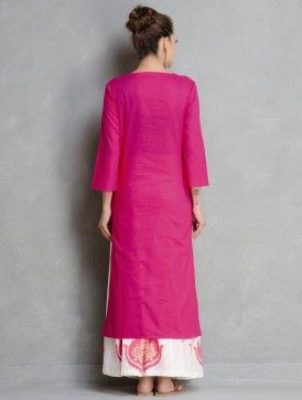 Fuschia Pintuck Cotton Kurta by Ruh