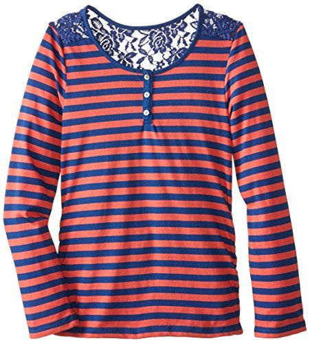 Derek Heart Big Girls' Striped Long Sleeve Scoop Neck Top with Placket and Lace Yoke, Blue/Coral, Small. Faux placket in front. Long sleeve lacey striped henley top. Slightly rouched on the sides to give a fitted look. Lace on shoulders and top part of back.