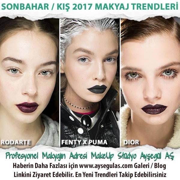 Şimdi Sonbahar / Kış 2017 makyaj trendlerine bir göz atarak soğuk mevsimlerde yüzünüzü daha canlı daha çekici göstermenin yollarına göz atabilirsiniz.   Güzelliğin & Makyajın Adresi Make-Up Stüdyo Ayşegül AŞ