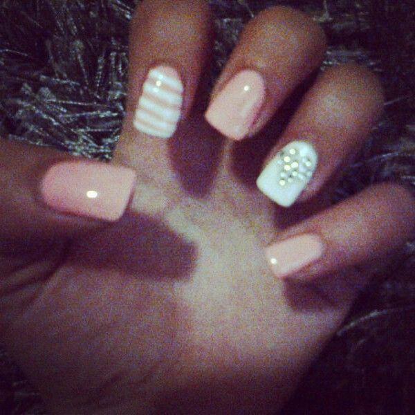 #nailart #nails #love #funky #white#peach#stripes#heart#diamante