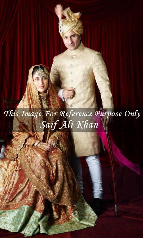 Saif ali khan wedding sherwani made in light golden color brocade fabric. Bottom as matching churidar. Accessories is not included in price.
