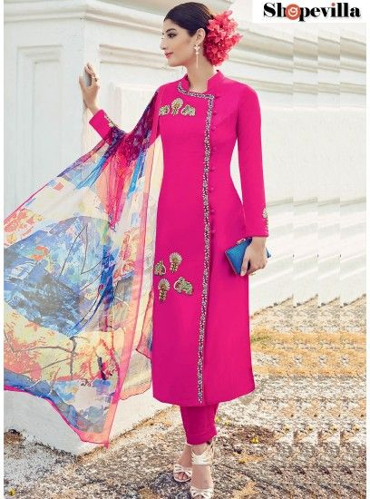 Fantastic Hot Pink Digital Print Work Cotton Satin Designer Suit-6504