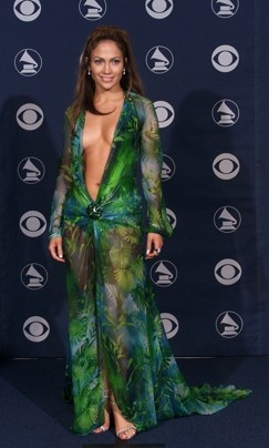 "Jennifer Lopez wore this navel-plunging Versace to the 2000 Grammy Awards. Lopez's dress was so iconic that ""South Park"" creator Trey Parker wore it to the 2000 Academy Awards.  Scott Gries/ Getty Images"