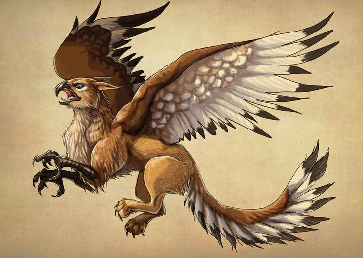 Griffon : Red female Gryphon Warrior by LadyFiszi on DeviantArt