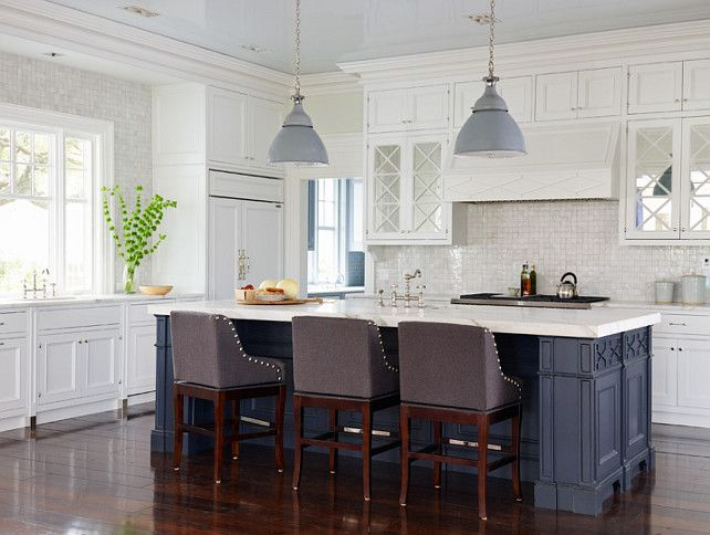 East Coast-Inspired Shingle HouseBenjamin Moore White Kitchen Paint Color: Benjamin Moore White Diamond 2121-60.  Island Paint Color is Benjamin Moore Raccoon Fur.
