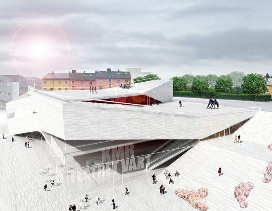Folding Architecture – Plassen Cultural Center in Norway / 3XN Architects - eVolo | Architecture Magazine