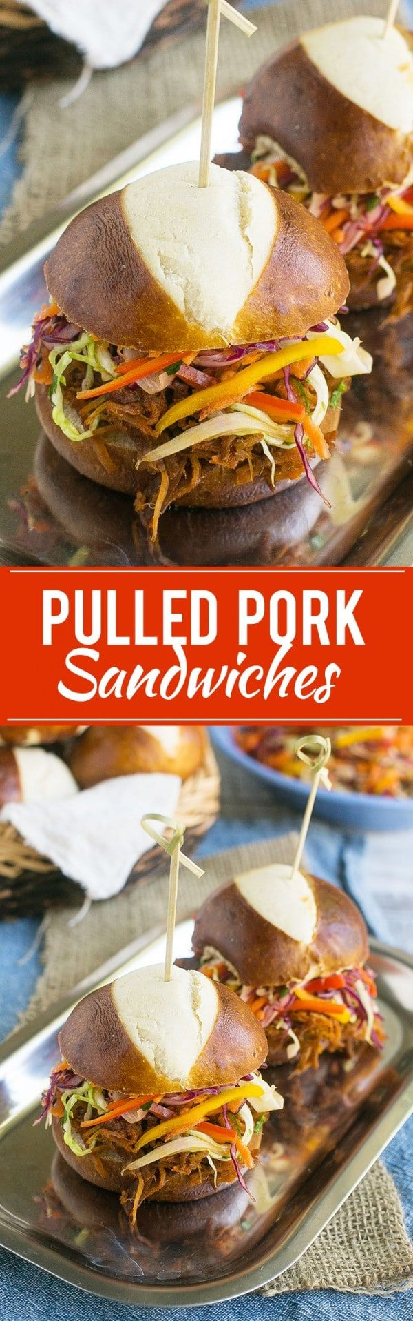 These easy pulled pork sandwiches are topped with a colorful rainbow slaw - pure comfort food that can even be made in advance!