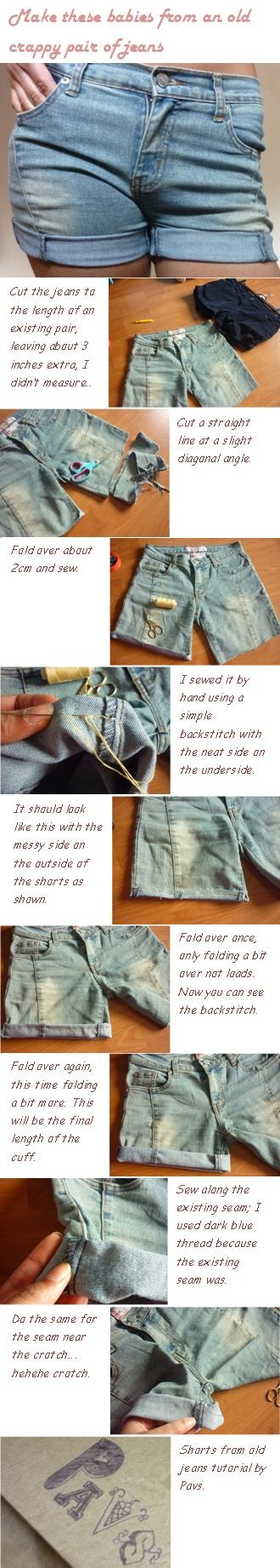 DIY shorts from old jeans: I made these jean shorts from a crappy old pair of hideous bootleg jeans I had! They'll be great for the summer
