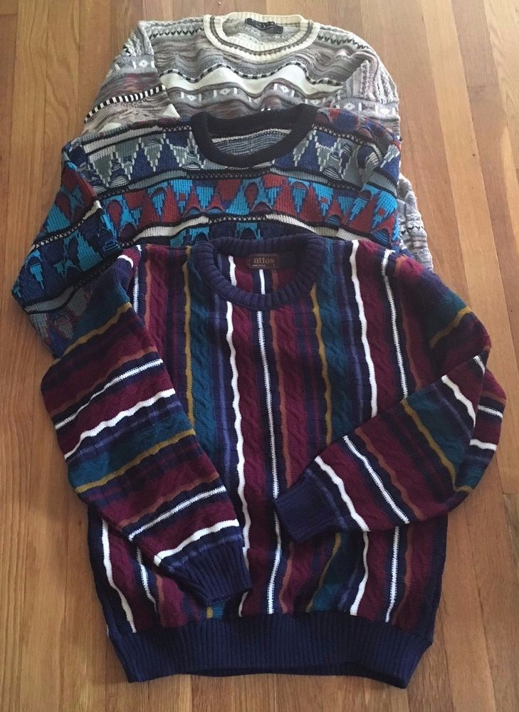 VTG Bill Cosby Sweater Lot 3 Tundra? Coogi-Like Texture Bright Biggie Smalls L #Unbranded #Crewneck