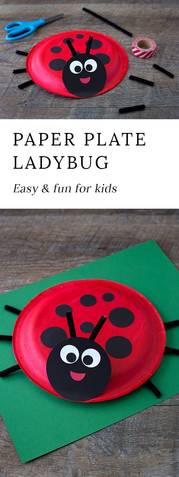 Learn how to make a simple Paper Plate Ladybug with kids. It's perfect for summer, insect lovers, and for strengthing fine-motor skills.   via @https://www.pinterest.com/fireflymudpie/