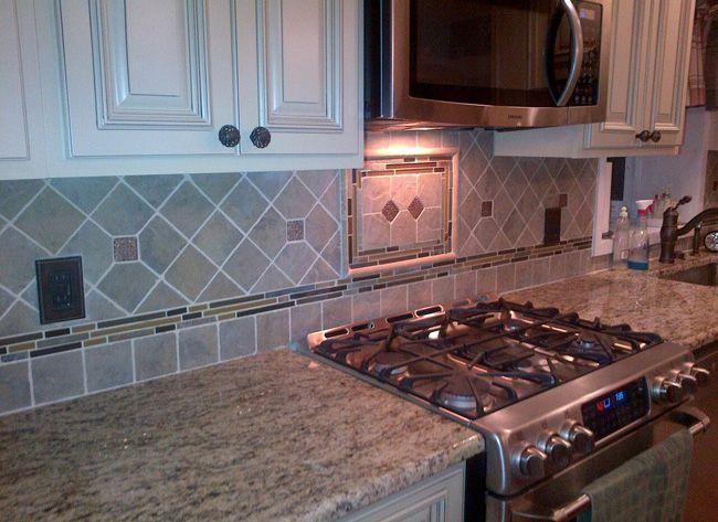 santa cecilia granite backsplash | Custom Santa Cecilia Granite Countertop. 4 x 4 Verde Tiles with