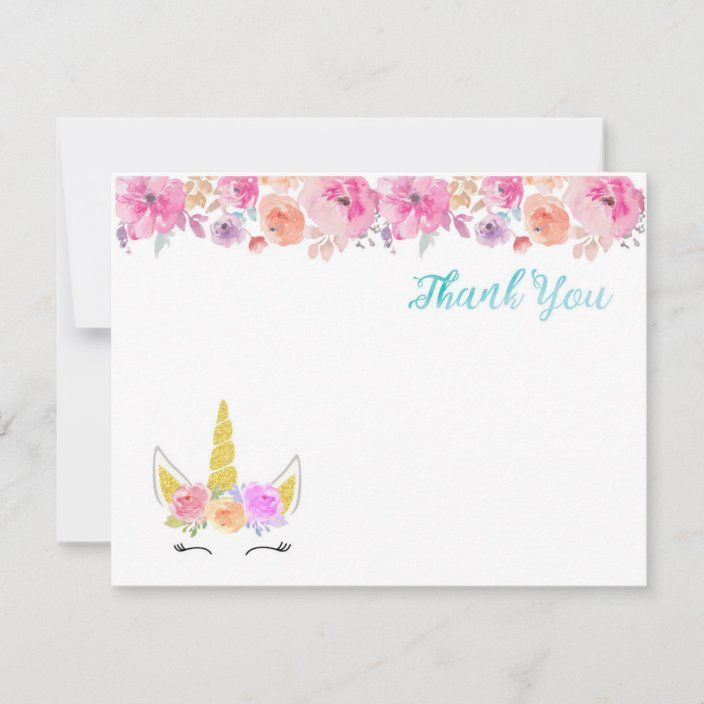Unicorn Thank You Card Zazzle Com In 2021 Unicorn Invitations Custom Thank You Cards Thank You Cards