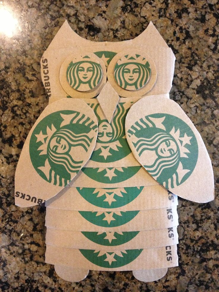 What to do with 12 Starbucks coffee sleeves! - Every time I go through the Starbucks drive thru the barista gives me a coffee sleeve with my coffee. Instead of throwing them away I collected them and put them in my car door. I was going to throw them away and thought there had to be a way to reuse them. I came up with this Starbucks Owl craft.