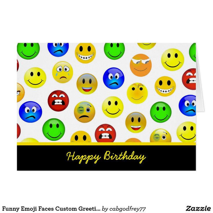 Funny Emoji Faces Custom Greeting Card