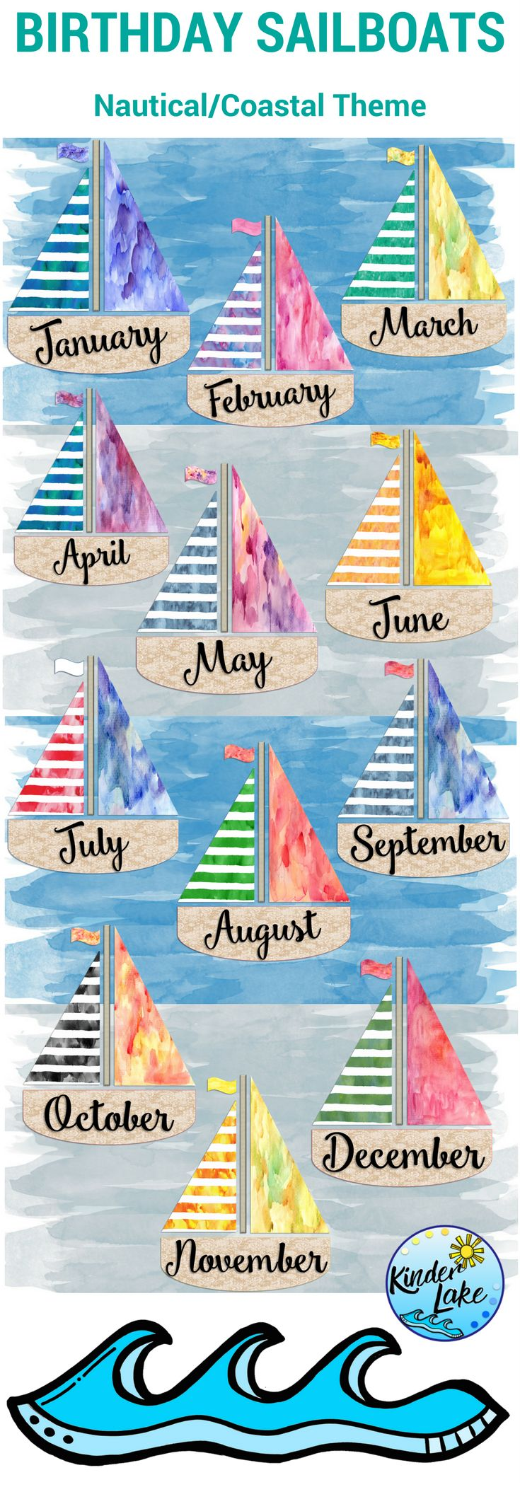 Use this birthday display in your nautical or coastal classroom. It will be a great addition to your decor.