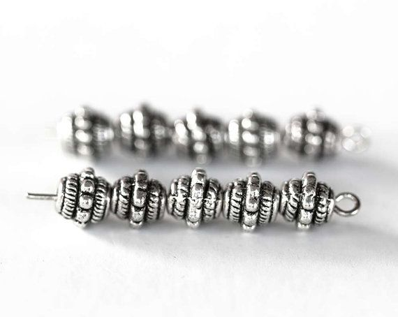 1745_Silver beads 7 mm, Round metal beads, Pattern carved spacer beads, Beads for jewelry making, Round spacer beads, Metal beads_50 pcs.