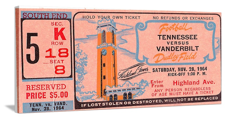 1964  Tennessee vs. Vanderbilt football ticket art on canvas. Great for a game room or office. http://www.shop.47straightposters.com/