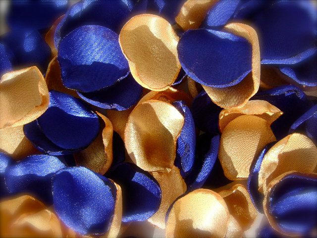 200 Rose Petals Handmade Mixed Colors Royal Blue And Gold Wedding Custom