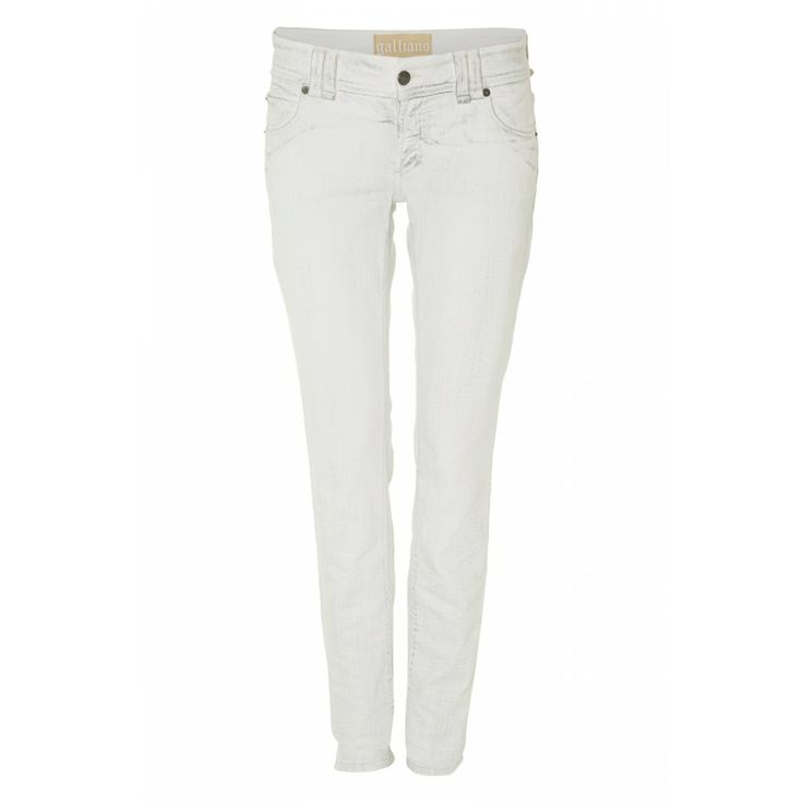 JOHN GALLIANO, UK 10  Giving a classic jean a luxe edge, these slim fit jeans are a great addition to your wardrobe. For a real dose of parisien-chic, roll them up & pair them with some pointy black pumps. >> http://www.covetique.com/clothing/jeans/john-galliano-cotton-blend-distressed-jeans-7589.html