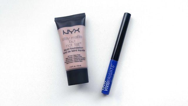 NYX Stay matte but not flat foundation, NYX Vivid Brights Vivid Sapphire eyeliner