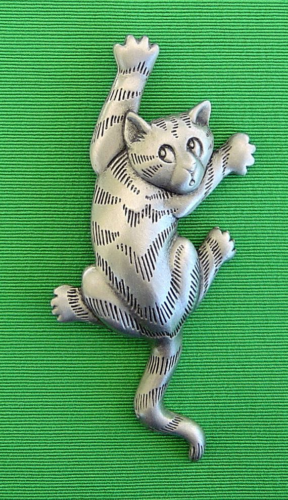 JJ Pewter Cat Pin Brooche by TheBirdalicious on Etsy, $14.95