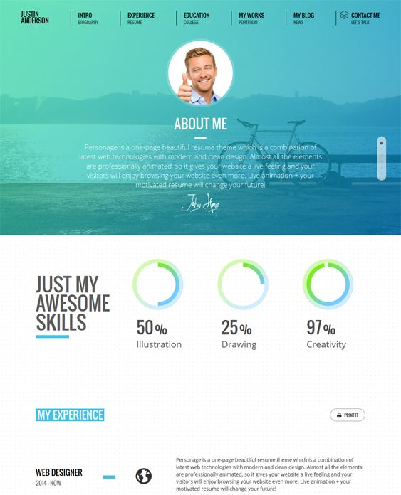 wordpress resume template free download sites website
