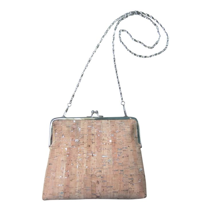 Party bag handmade cork leather with silver, special!