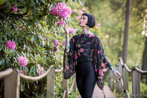 Black flowers and birds chiffon Kimono sleeve by KitsuneCoutureFI